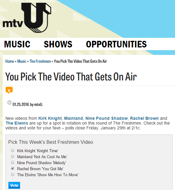 mtv u Rachel Brown U got me